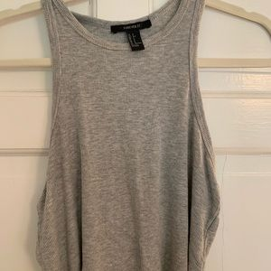 Forever 21 Grey Racer Back ribbed crop top